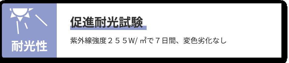 プロセブン耐震マット 耐光性 促進耐光試験 紫外線強度255W/㎡で7日間、変色劣化なし