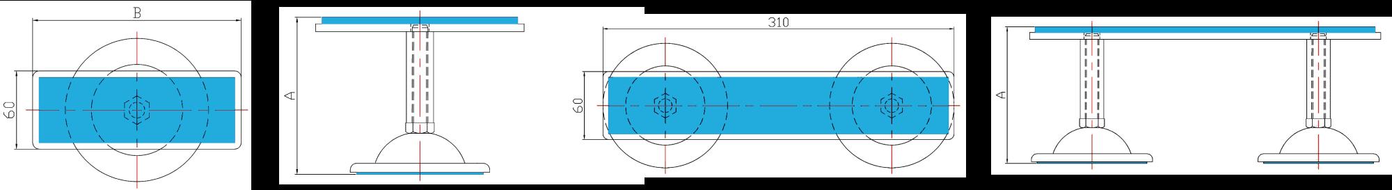 設備アジャスト式耐震金具 設計図